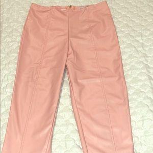 Fashion Nova High Waisted Pink Leather pants